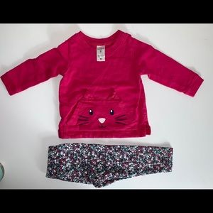Carter's kitty l/s outfit w/ matching leggings 9M